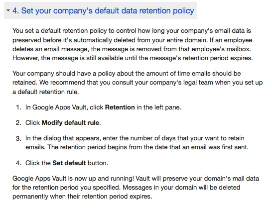 google vault retention