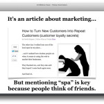 reframe your message to cross target [margeting, dereks niche, tapped people who go to spas and are massage therapists]